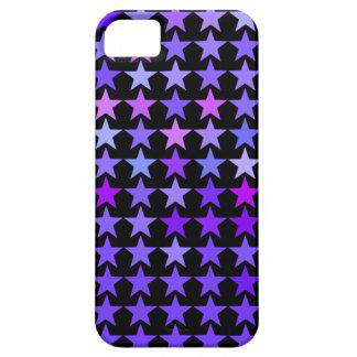 Purple Stars Pattern Black iPhone 5 Case