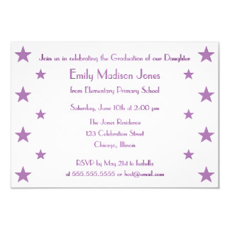 Purple Stars School Graduation Party Invitation