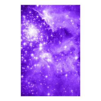 Purple Stars Stationery Paper