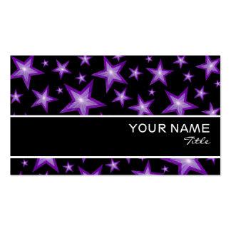 Purple Stars stripe business card template black