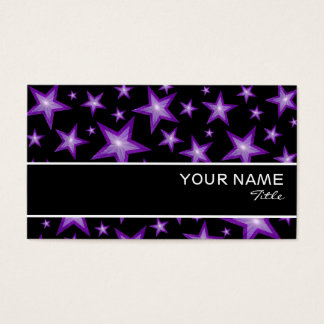 Purple Stars stripe business card template black