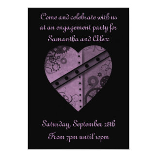 Purple steampunk gears heart engagement party 5x7 paper invitation card