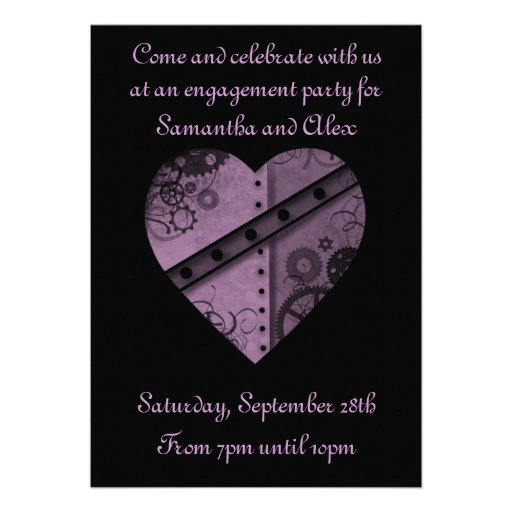 Purple steampunk gears heart engagement party personalized invites