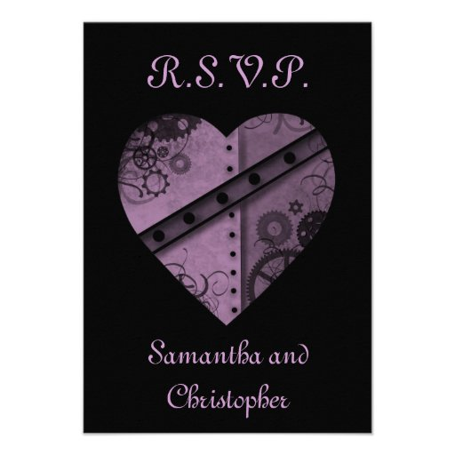 Purple steampunk gears heart RSVP wedding Personalized Announcement