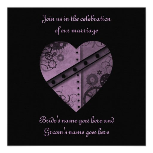 "Purple steampunk gears heart wedding 5.5"" x 5.5"" custom announcement"