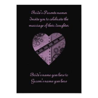 """Purple steampunk gears heart wedding 5.5"""" x 7.5"""" card"""