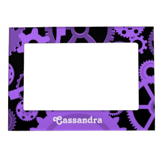 Purple steampunk gears to personalize magnetic picture frame