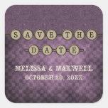Purple Steampunk Keys Save the Date Stickers