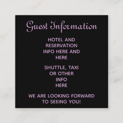 Purple steampunk wedding guests reservations info enclosure card