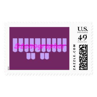 Purple Stenographer Steno Machine Keys Stamps