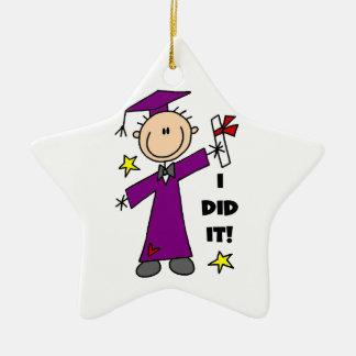 Purple Stick Figure Boy Graduate Ceramic Ornament