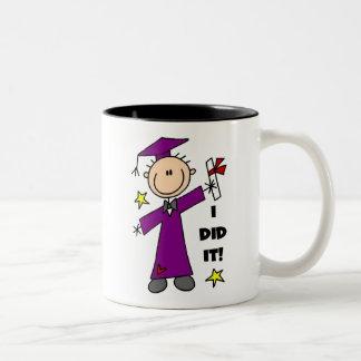 Purple Stick Figure Boy Graduate Mugs