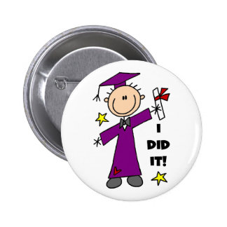 Purple Stick Figure Boy Graduate Pinback Button
