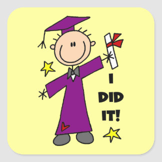 Purple Stick Figure Boy Graduate Sticker