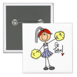 Purple Stick Figure Cheerleader t-shirts and Gifts Button