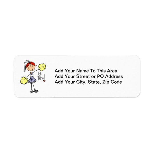 Purple Stick Figure Cheerleader t-shirts and Gifts Label