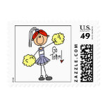 Purple Stick Figure Cheerleader t-shirts and Gifts Stamps