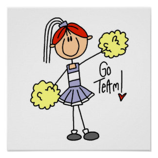 Purple Stick Figure Cheerleader t-shirts and Gifts Poster