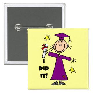 Purple Stick Figure Girl Graduate Pinback Buttons