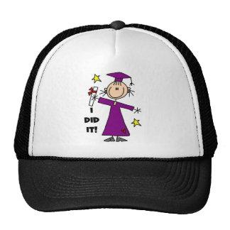 Purple Stick Figure Girl Graduate Trucker Hats