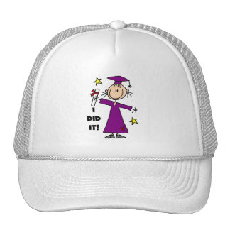 Purple Stick Figure Girl Graduate Hats