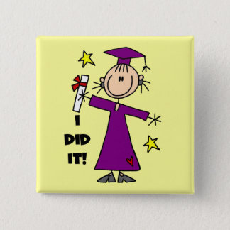 Purple Stick Figure Girl Graduate Pinback Button
