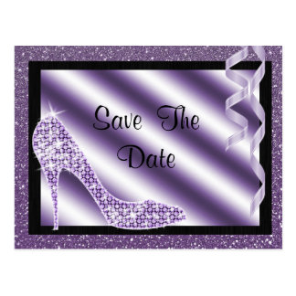 Purple Stiletto & Streamers Sweet 16 Save The Date Postcard