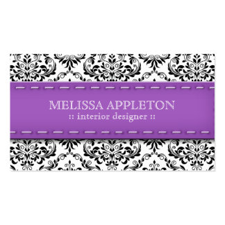 Purple Stitched Damask Interior Designer Business Card Templates