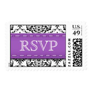 Purple Stitched Damask RSVP Postage Stamps