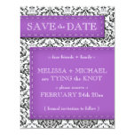 "Purple Stitched Damask Save the Date Announcements 4.25"" X 5.5"" Invitation Card"