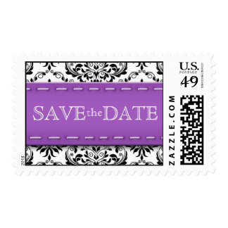 Purple Stitched Damask Save the Date Postage