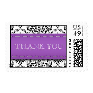 Purple Stitched Damask Thank You Postage Stamps