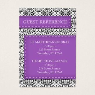 Purple Stitched Damask Wedding Guest Reference Business Card