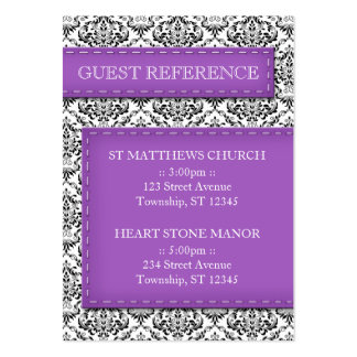Purple Stitched Damask Wedding Guest Reference Large Business Card