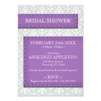 Purple Stitched Gray Damask Bridal Shower Card