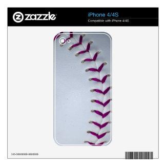 Purple Stitches Baseball/Softball Skin For iPhone 4S
