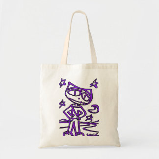 Purple Stitchlip on Highway ( Cat Super Hero ) Canvas Bags