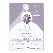 Purple stock the kitchen Bridal shower Invite