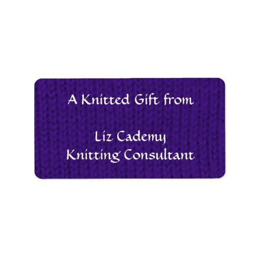 Purple Stockinette Address Label