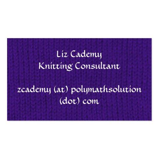 Purple Stockinette Business Card