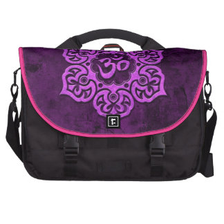 Purple Stone Floral Om Bags For Laptop