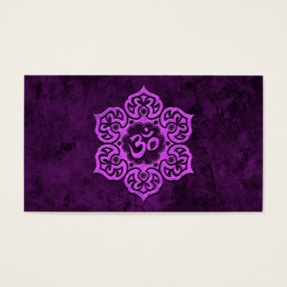 Purple Stone Floral Om Business Card