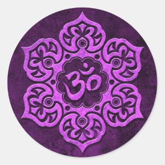 Purple Stone Floral Om Classic Round Sticker