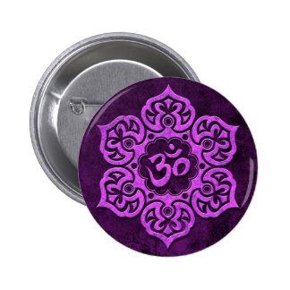 Purple Stone Floral Om Pinback Button