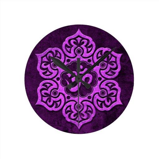 Purple Stone Floral Om Round Wallclock