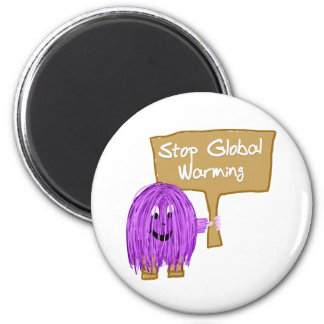 Purple stop global warming 2 inch round magnet