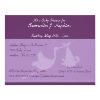 Purple Stork Baby Shower Invitation Cards
