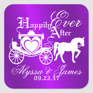 Purple Storybook Carriage Square Sticker