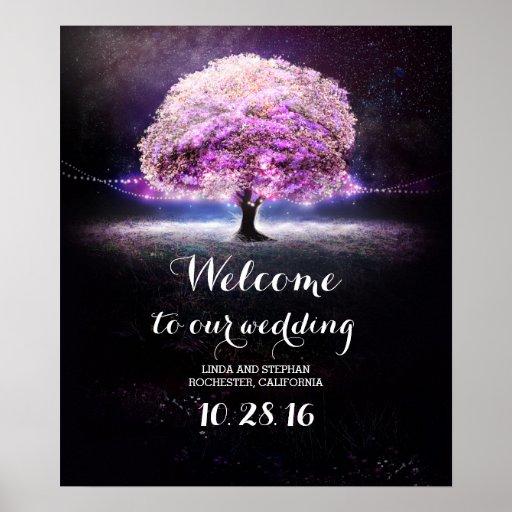 Zazzle String Lights : Purple string lights tree wedding poster Zazzle