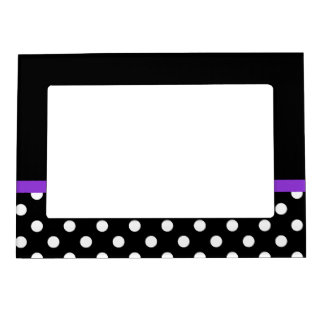 Purple Stripe Black and White Polka Dots Magnetic Photo Frame